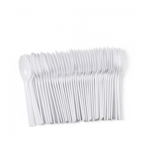 White Plastic Teaspoons - Dash Packaging