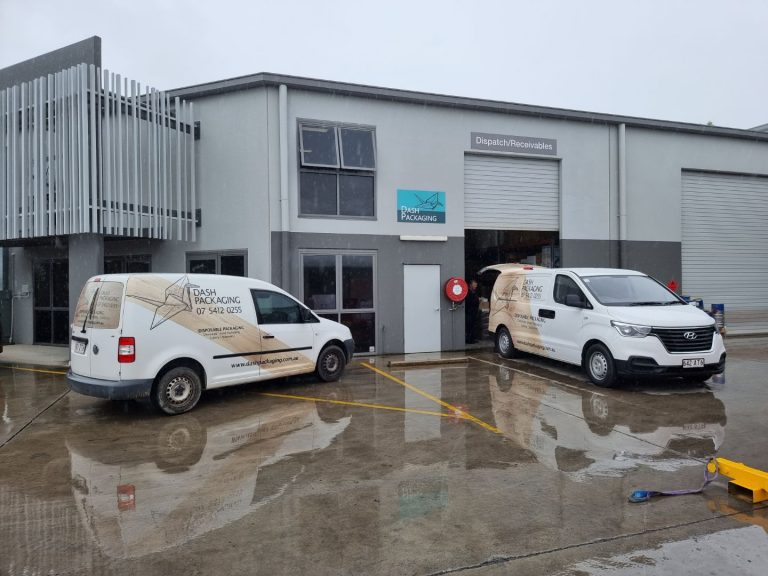 Dash Packaging Vehicles at shop front